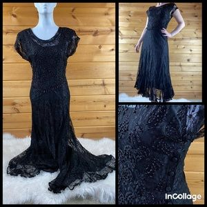 Vintage beaded lace sheer dress 80s 90s black goth
